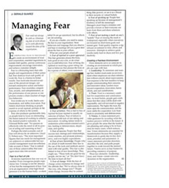 Executive Excellence, Managing Fear